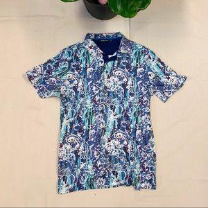 Bugatchi Short Sleeve Polo Blue Medium